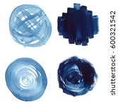 Blue watercolor bubbles. Web elements for icons, banners, and labels. Isolated round shapes on white background.