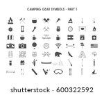 set of silhouette icons and... | Shutterstock . vector #600322592