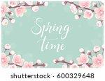 cherry blossom horizontal frame ... | Shutterstock .eps vector #600329648