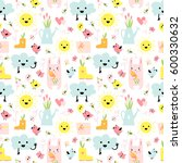 cute spring elements concept... | Shutterstock .eps vector #600330632
