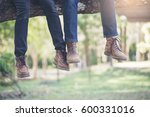 close up of the legs of a lover.... | Shutterstock . vector #600331016
