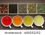 Stock photo black tea green tea fruit tea cups tea assortment in boxes 600332252