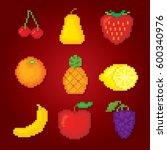 fruits icons set. pixel art.... | Shutterstock .eps vector #600340976