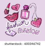 hand drawn doodle fashion set.... | Shutterstock .eps vector #600346742