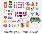 hippie  bohemian design with... | Shutterstock .eps vector #600347732