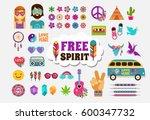 hippie  bohemian design with... | Shutterstock .eps vector #600347732