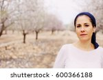 outdoor portrait of 40 years... | Shutterstock . vector #600366188