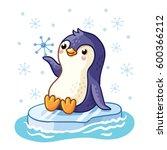 penguin on an ice floe floats... | Shutterstock .eps vector #600366212