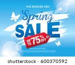 spring sale poster  vector... | Shutterstock .eps vector #600370592