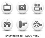 media icons on round black and...   Shutterstock . vector #60037457