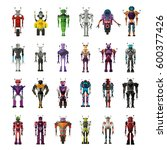set of robot characters  with... | Shutterstock .eps vector #600377426