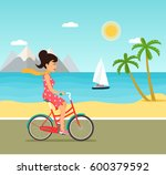 young woman with bicycle riding ... | Shutterstock .eps vector #600379592
