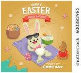 vintage easter poster beach...   Shutterstock .eps vector #600382982