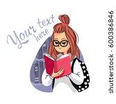 sketch of girl  reading a book | Shutterstock .eps vector #600386846