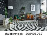 modernly designed flat interior ... | Shutterstock . vector #600408032
