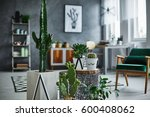 modernly designed room with... | Shutterstock . vector #600408062