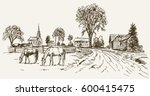 vintage view of new england...   Shutterstock .eps vector #600415475
