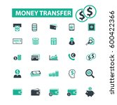 money transfer icons  | Shutterstock .eps vector #600422366