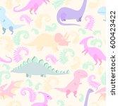 cartoon dinosaur vector... | Shutterstock .eps vector #600423422