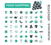 food shopping icons | Shutterstock .eps vector #600424538