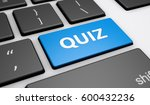 quiz sign and word on a blue... | Shutterstock . vector #600432236