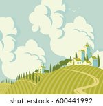 spring landscape with village... | Shutterstock .eps vector #600441992
