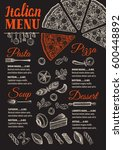 pizza food menu for restaurant... | Shutterstock .eps vector #600448892