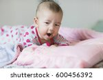 asian baby sleep and yawning on ... | Shutterstock . vector #600456392