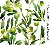 olive tree pattern in a... | Shutterstock . vector #600457922
