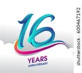 16 years anniversary... | Shutterstock .eps vector #600467192