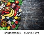vegetables and fruits on a... | Shutterstock . vector #600467195