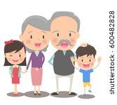 elder couple and grandchild | Shutterstock .eps vector #600482828
