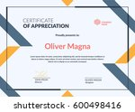 certificate of appreciation... | Shutterstock .eps vector #600498416