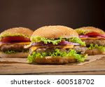fresh delicious burgers with... | Shutterstock . vector #600518702