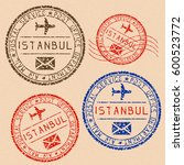 istanbul mail stamps collection.... | Shutterstock .eps vector #600523772