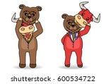 disguised bear and bull mask... | Shutterstock .eps vector #600534722
