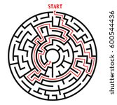 circle maze with solution.... | Shutterstock .eps vector #600544436