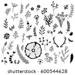 rustic set of natural... | Shutterstock . vector #600544628