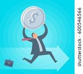 businessman runs with dollar... | Shutterstock .eps vector #600546566