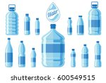 plastic water bottle set... | Shutterstock .eps vector #600549515