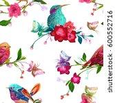 vintage seamless pattern  bird  ... | Shutterstock .eps vector #600552716