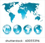 world map and glossy globes | Shutterstock . vector #60055396