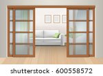 living room interior with... | Shutterstock .eps vector #600558572