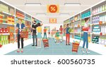people shopping at the... | Shutterstock .eps vector #600560735