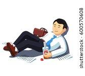 drunk asian business man lying... | Shutterstock .eps vector #600570608