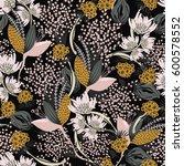 floral seamless pattern. hand... | Shutterstock .eps vector #600578552