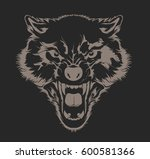 angry wolf head. beautiful wolf ... | Shutterstock .eps vector #600581366