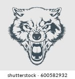 angry wolf head. beautiful wolf ... | Shutterstock .eps vector #600582932