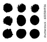 collection of black ink brush... | Shutterstock .eps vector #600584936