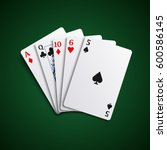 poker hand high cards... | Shutterstock .eps vector #600586145